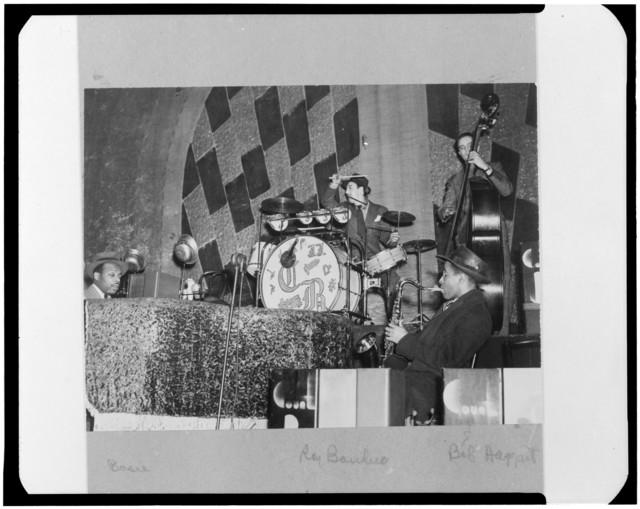 [Portrait of Count Basie, Ray Bauduc, Herschel Evans, and Bob Haggart, Howard Theater, Washington, D.C., ca. 1941]