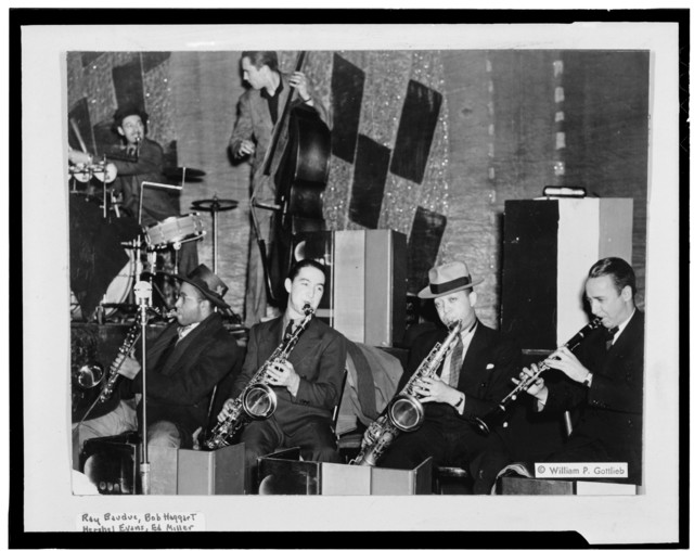 [Portrait of Ray Bauduc, Herschel Evans, Bob Haggart, Eddie Miller, Lester Young, and Matty Matlock, Howard Theater, Washington, D.C., ca. 1941]