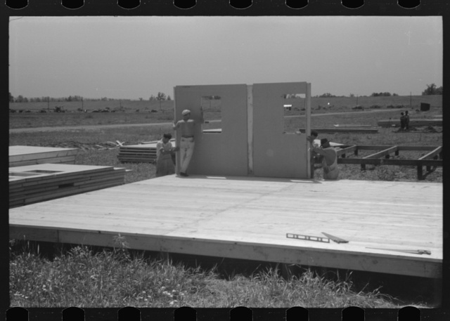 Prefabricated defense housing under construction near airport, Hartford, Connecticut. Constructed and managed by FSA (Farm Security Administration)