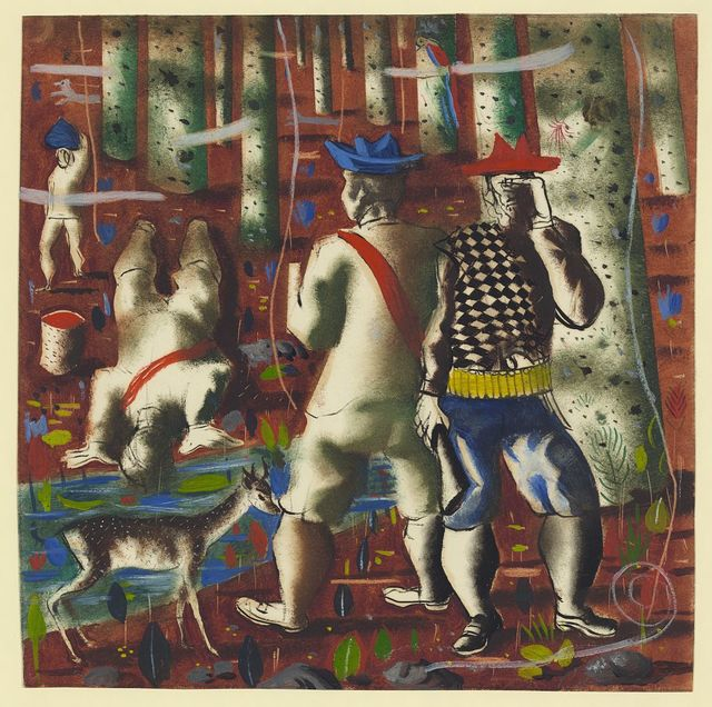 """[Preparatory drawing for """"Entry into the forest"""" mural, Hispanic Division, Library of Congress] / Portinari."""