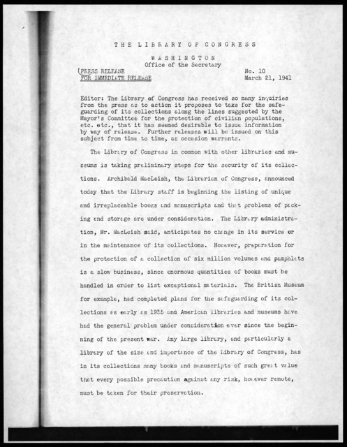 Press Release No. 10, Office of the Secretary, Library of Congress, March 21, 1941