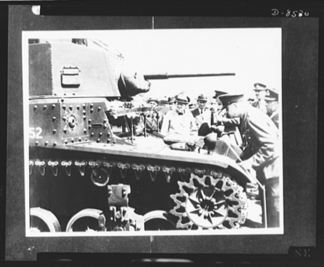 Prime Minister Winston Churchill. Prime Minister Winston Churchill is shown inspecting an M-3 American made tank during a visit to the Southern Command at the end of July 1941