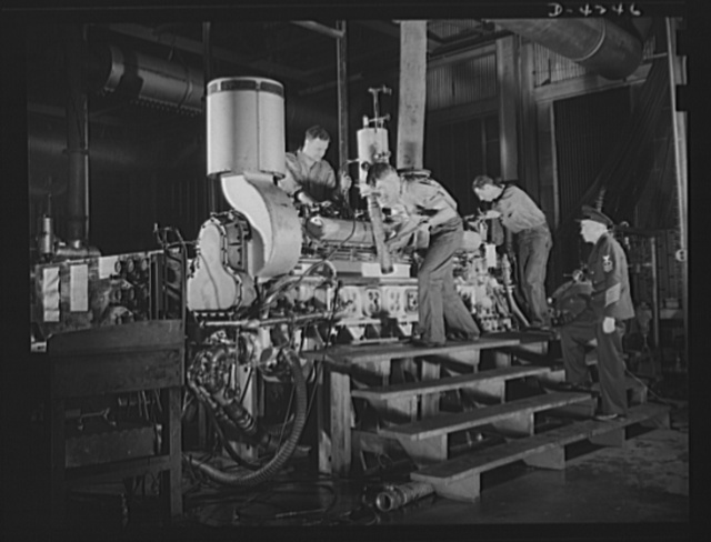 Production. Diesel engines. A diesel engine, produced for the Navy at a Midwest manufacturing plant, is prepared for testing under Navy supervision