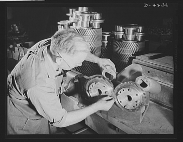 Production. Diesel engines. Blower gears that will be assembled into diesel engines for the Navy are carefully matched in a Midwest manufacturing plant