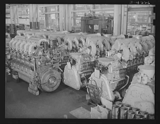 Production. Diesel engines. Diesel engines for the Navy await dynamometer at a Midwest plant
