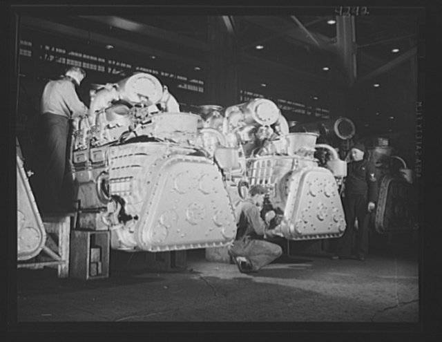 Production. Diesel engines. General assembly of diesel engines for the Navy at a Midwest manufacturing plant
