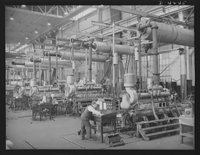Production. Diesel engines. General view of the engine testing department at a Midwest plant producing diesel engines for the Navy