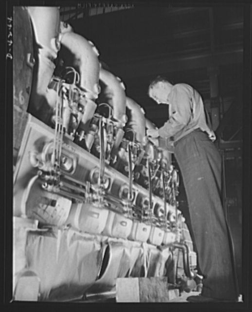 Production. Diesel engines. The valve mechanism of a diesel engine for the Navy is adjusted at a Midwest manufacturing plant