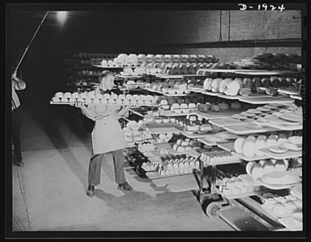 Racks which hold china after having been painted. Shenango Pottery Works, Newcastle, Pennsylvania