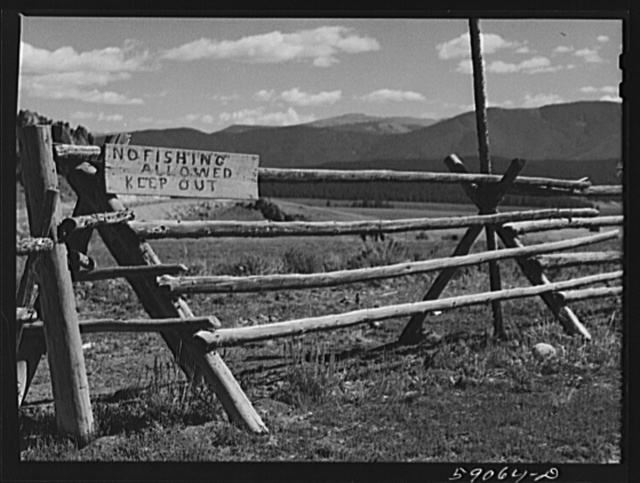 Rail fence around pasture and grazing lands. Near Granby, Colorado