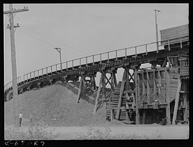 Railroad trestle at copper mining town of Calliment [i.e., Calumet], Michigan