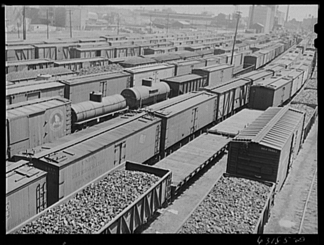 Railroad yards. Milwaukee, Wisconsin. All time records for amount of freight in yards are being set