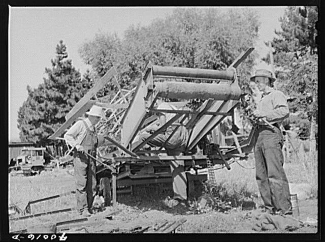 Repairing combine, getting ready for harvest. Genesee, Latah County, Idaho