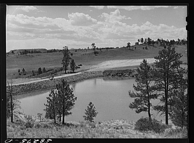 Reservoir for range cattle just finished on Lyman Brewster's lease. Near Lame Deer, Montana