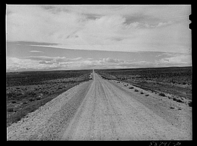 Road across the plains near Farson, Wyoming