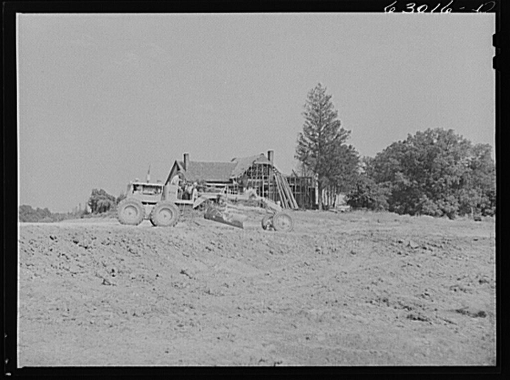 Road construction where garden was last year. Construction of naval ammunition depot. Martin County, Indiana