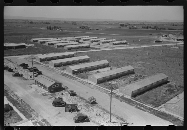 Row shelters of farm workers at the FSA (Farm Security Administration) labor camp. Caldwell, Idaho