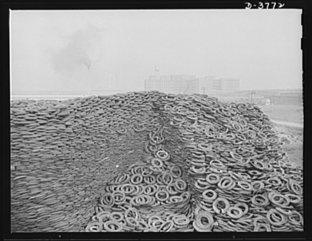 Rubber reclamation. Scrap tires mobilized for Victory. Millions of discarded casings cover more than 100 acres at one Midwest recovery plant. Systematic piling and sectional arrangement reduce fire hazard. Special processes will separate metal from the tires and tube bodies. The reclaimed material will be used to manufacture thousands of essential mechanical rubber products. Firestone