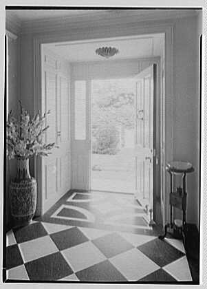 Rufus W. Scott, residence on Via Del Lago, Palm Beach, Florida. Looking out front door