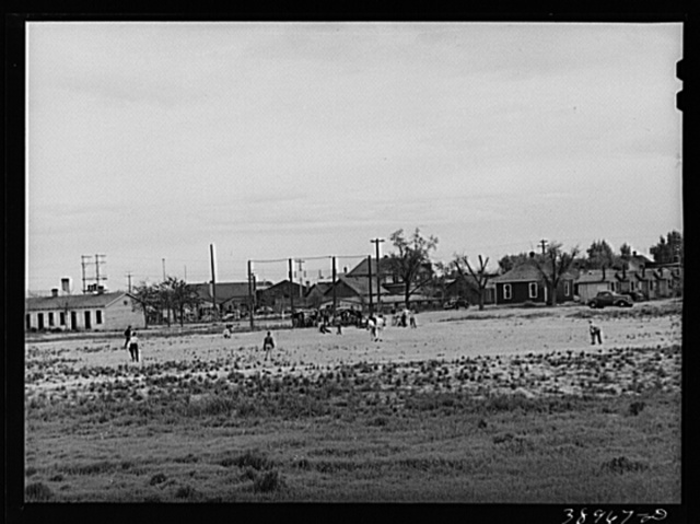 Sandlot baseball game. Twin Falls, Idaho. Twin Falls was settled mostly by people from the middle west when water for irrigation was made available to the section. Twin Falls, Idaho
