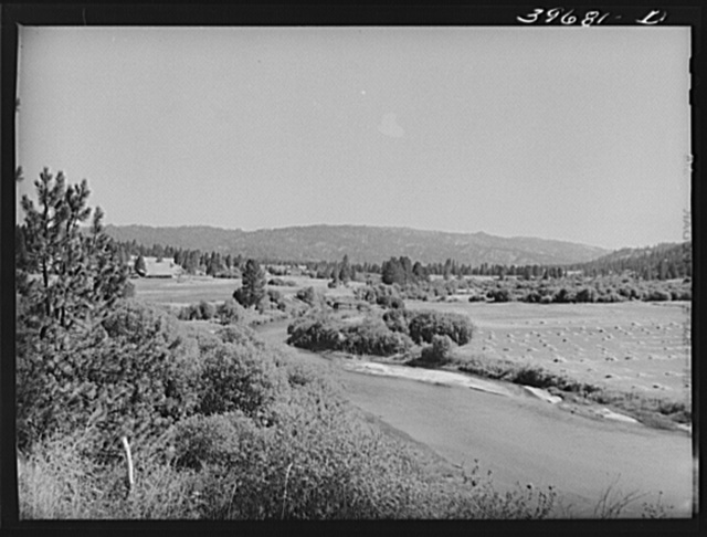 Scene in Garden Valley, Boise County, Idaho. The valley is lush and green, spotted with small farms and the many hay fields indicate the importance of dairying