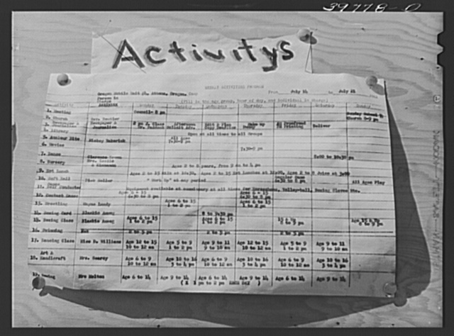 Schedule of camp activities at the FSA (Farm Security Administration) migratory farm labor camp mobile unit. Athena, Oregon