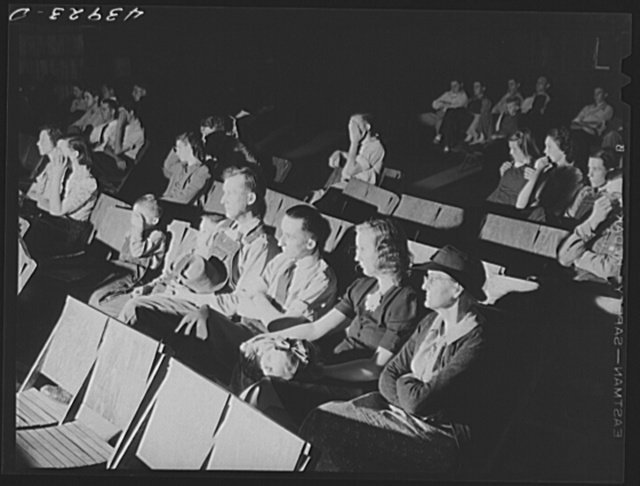 School teachers in Centralhatchee, Georgia have organized movies in the school auditorium for those who can't get to town. Heard County, Georgia