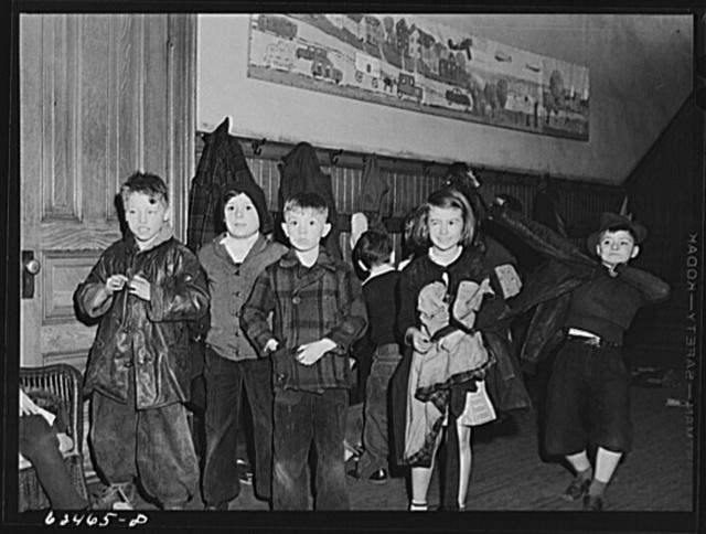Schoolchildren getting ready to go home. Norfolk, Virginia