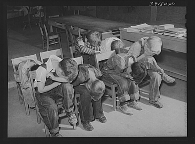 Schoolchildren playing a game at the FSA (Farm Security Administration) farm workers' camp. Caldwell, Idaho