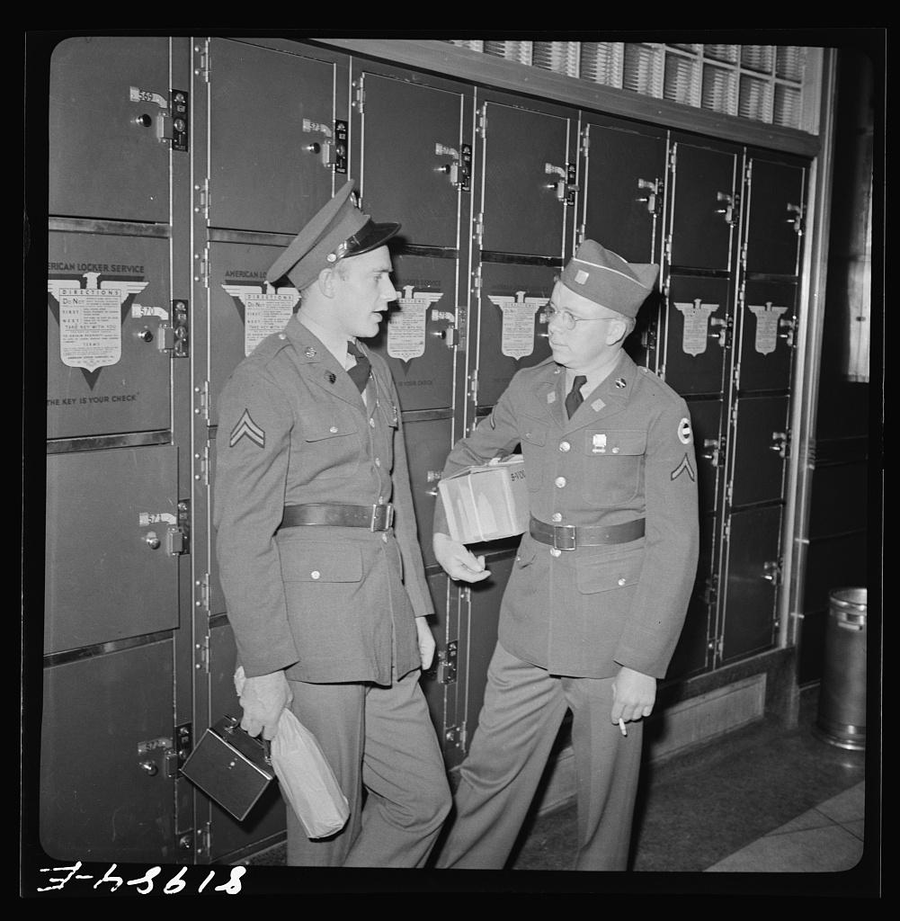 43ad45906cd Servicemen by lockers. Greyhound bus depot, Washington, D.C. ...