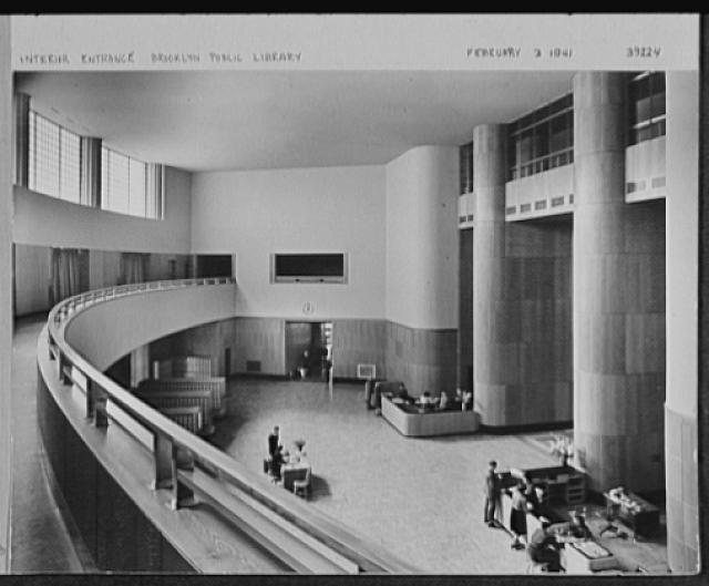 Seventy-one years, or, My life with photography. Interior entrance, Brooklyn Public Library, Feb. 3, 1941