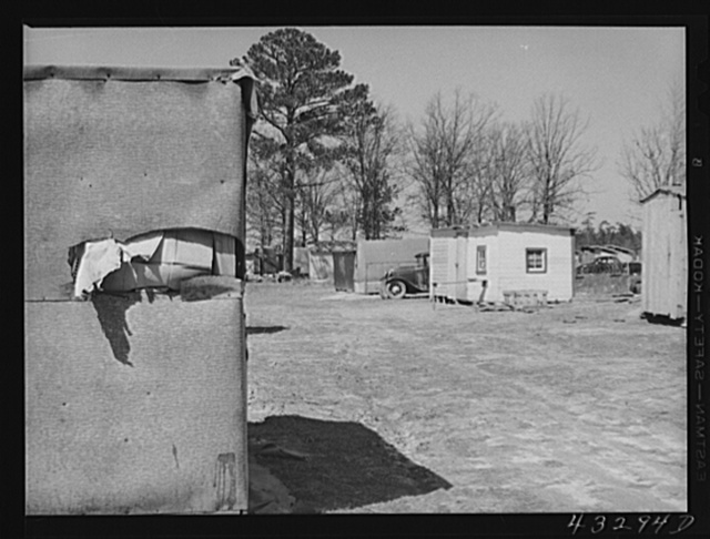Shacks in a settlement near Fayetteville, North Carolina. Construction workers from Fort Bragg live here