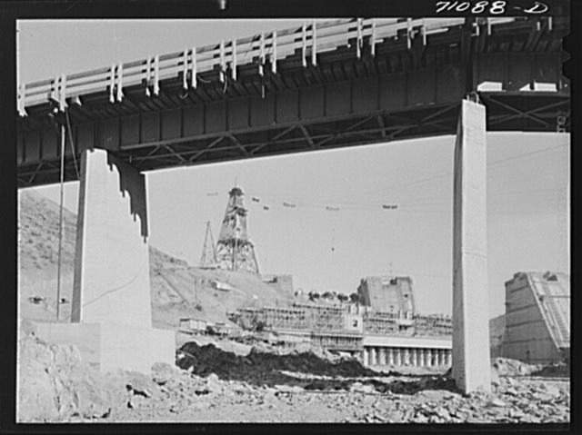 Shasta Dam under construction. Shasta County, California