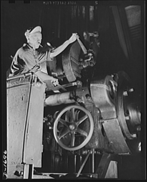 Shipbuilding (Newport News). There are many complicated machining operations involved in the production of ships for our two-ocean Navy. This skilled worker is one of thousands at the Newport News ways