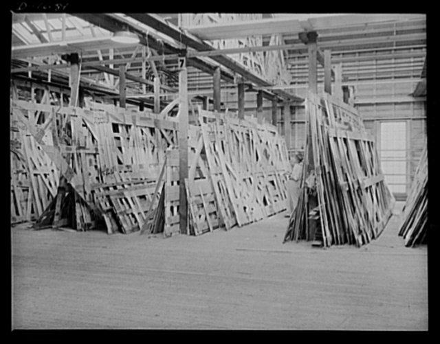 Shipbuilding (Newport News). This is the storage space in the moulding loft where the many templates for ships' parts are fashioned in wood. These patterns are then transferred to steel