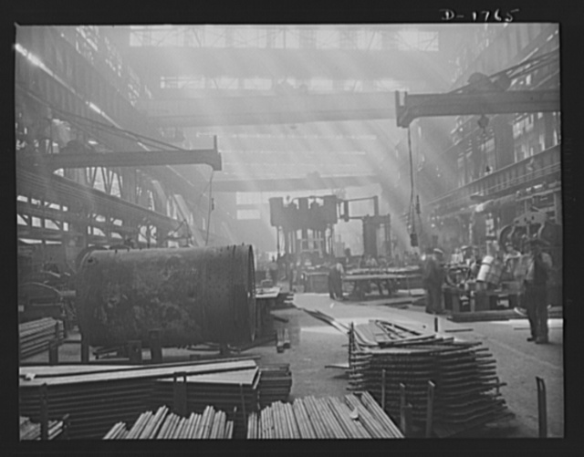 Shipbuilding (Norfolk Navy Yard). This is one of the huge machine shops, where many of the 26,000 workers in the yard fashion metal parts for the ships under construction for the Navy