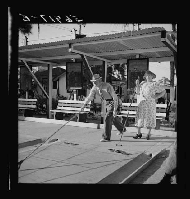 Shuffleboard enthusiasts. Sarasota trailer park, Sarasota, Florida