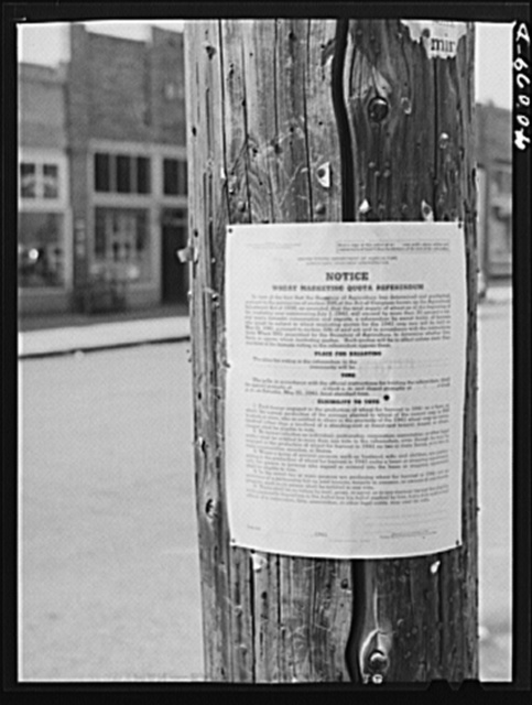 Sign concerning wheat quotas referendum. Genesee, Idaho