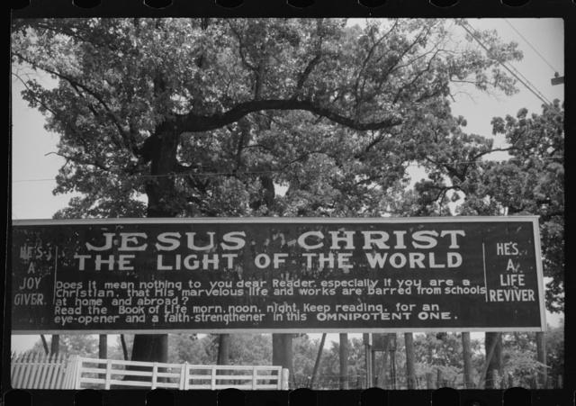 Sign outside a religious arbor in Eutaw, Alabama