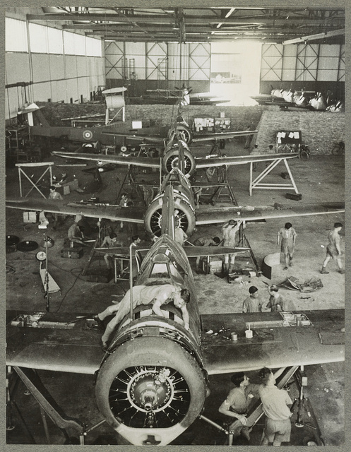 """Singapore U.S. made Brewster """"Buffalo"""" pursuit ships being mass-assembled in a hangar in Malaya for the use of Britain's Royal Air Force in the Far East."""
