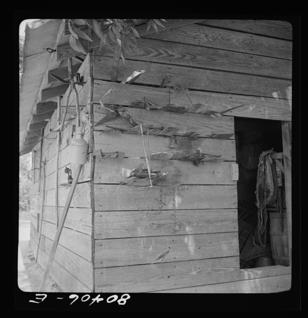 Spare tools hung on the wall of a Coffee County barn. Alabama