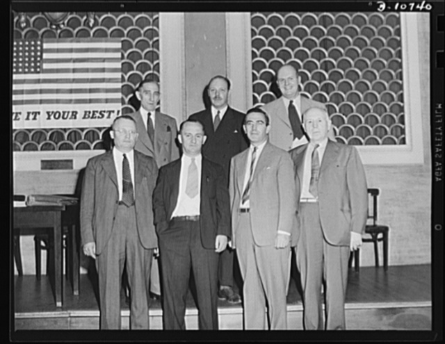 Speakers prior to rally for labor-management committee members, Scranton, July 29th. Front row, left to right: Michael J. Kosik, Mart F. Brennan, Frank W. Earnest, Jr., and Richard Maize. Rear row, left to right: Brigadier General Brice P. Disque, Frank C. Wright, Jr., and Alex G. Nordholm