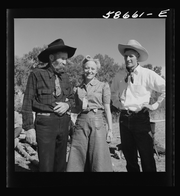 Spear's Siding, Wyola, Montana. Lyman Brewster of Quarter Circle U Ranch with Sally Rand and her father, Turk Greenough, at a stockmen's picnic and barbecue