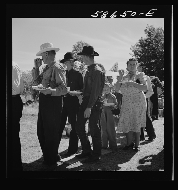 Spear's Siding, Wyola, Montana. Waiting in line for barbecued beef at the stockmen's picnic and barbeque