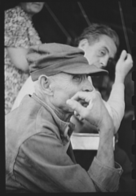 Spectator at an auction in East Albany, Vermont