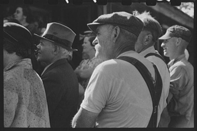 Spectators at an auction in East Albany, Vermont.