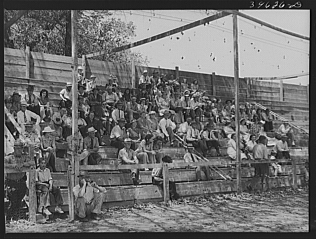 Spectators at the baseball game on the Fourth of July at Vale, Oregon