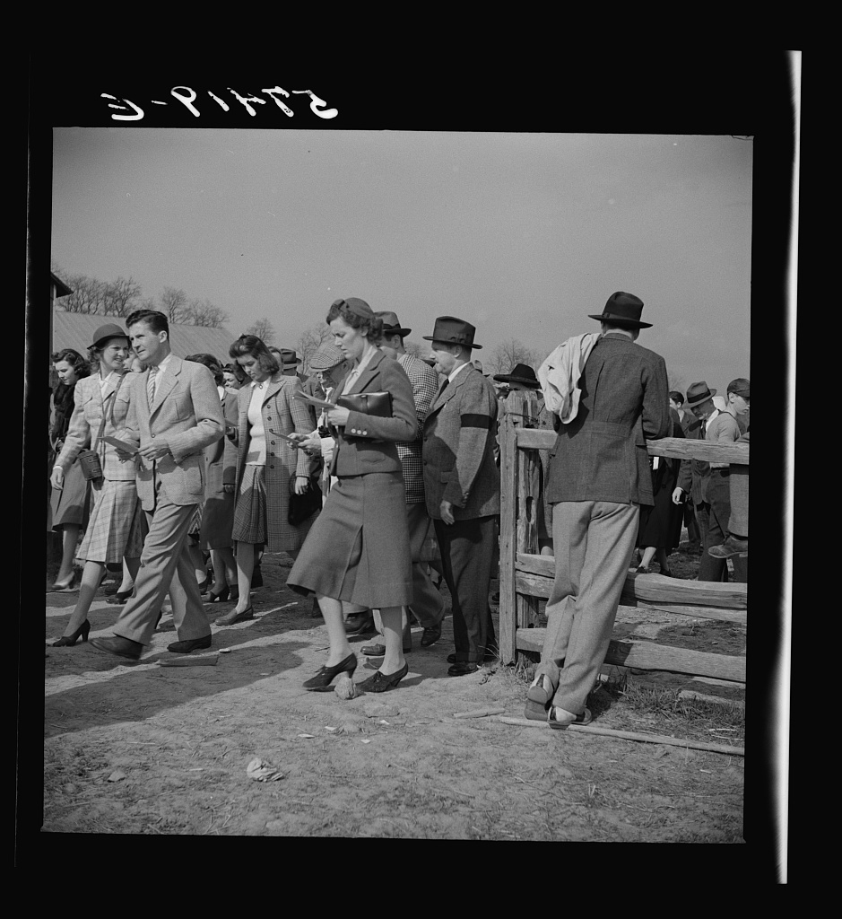 Spectators at the Point-to-Point Cup race of the Maryland Hunt Club. Worthington Valley, near Glyndon, Maryland