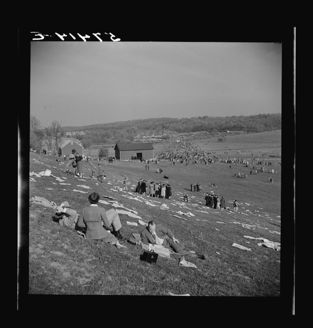 Spectators at the Point to Point Cup race of the Maryland Hunt Club. Worthington Valley, near Glyndon, Maryland