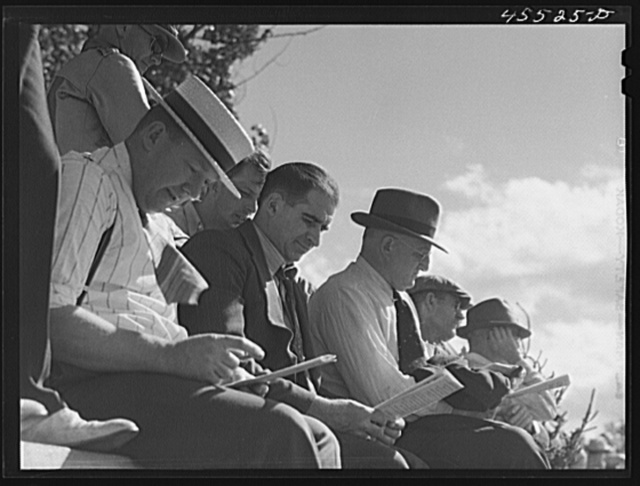 Spectators at the sulky races. Rutland Fair, Vermont